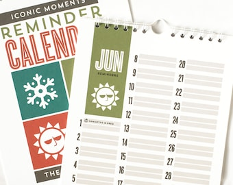 Personalized Reminder Calendar, Perpetual Calendar for Birthdays and Anniversaries, Gift Under 50 // ICONIC MOMENTS