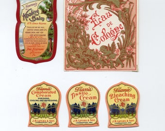 Group Of  Five Vintage Cosmetic Labels -  Phil Eisemann - J. B. Lynas - Cologne - Creams And Balm