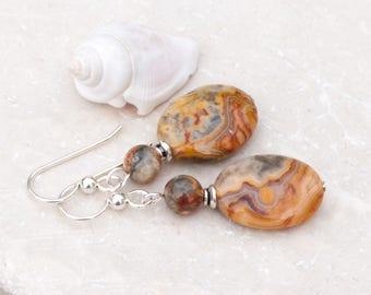 Crazy Lace Agate Earrings, Natural Stone Earrings, Ochre, Grey & yellow Earrings, Sterling Silver, Everyday Earrings, Neutral Tone Earrings
