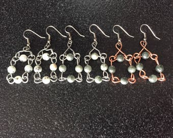 silver earrings hand made jewelry wire gemstone earrings silver jewelry wire stone earrings hoop earrings metal jewelry copper earring hoops