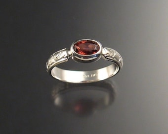Pink Garnet ring in Sterling silver made to order in your size