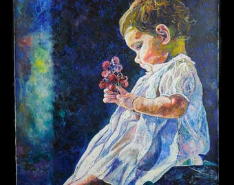 """Batya Dagan Original Oil on Canvas--Baby's Firtst Dress 24""""x20"""""""