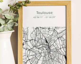 Toulouse poster - Map (A4)