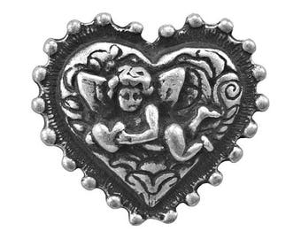 Cupid's Heart 1 inch ( 25 mm ) Pewter Metal Button Antique Silver Color