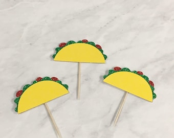 Taco cupcake toppers taco party taco cake fiesta decoration cactus party decor cinco de mayo taco bout a party taco tuesday fiesta party 12