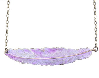 Feather Necklace Purple Jewelry Hand Painted Rustic Weathered Distressed Feather Pendant Choker Bohemian Necklace Lavender Purple Necklace