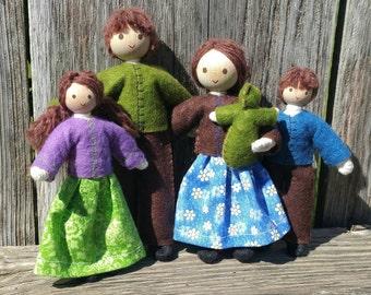 Dollhouse Family - Dollhouse Dolls - Waldorf Dollhouse - Bendy Doll - Brown hair - Dollhouse People - Dollhouse Doll - Dollhouse bendy doll