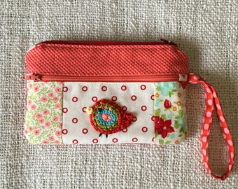 Zipper pouch with front pocket /crocheted bird
