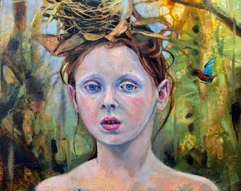 Portrait Girl Forest Surrealism Print