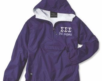 Sigma Sigma Sigma Tri Sigma TriSigma Sigma Anorak Jacket Tri Sig Rain Jacket Sigma Apparel Windreaker sorority