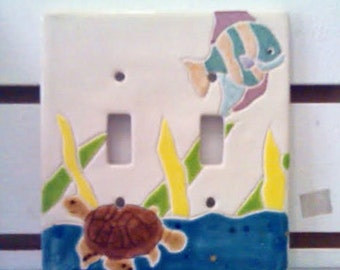 Colorful CERAMIC Switch Plates Cover- Tropical- Nautical Decor- Lighting- Switch Plate