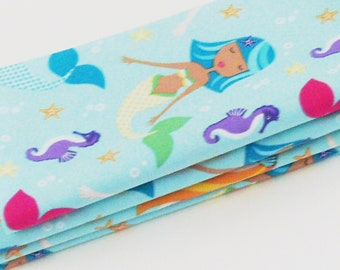 Mermaids & Seahorses Cotton Napkins / Set of 4 / Colorful Eco-Friendly Dining Table Decor / Unique Fun Gift Under 50