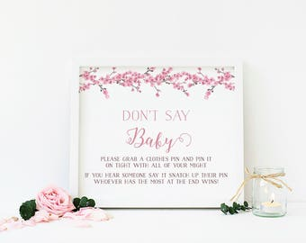 Cherry Blossom Shower Activity, Clothes Pin Game, Don't Say Baby Game, Don't Say Baby Sign, Printable, Instant Download - FL4