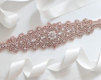 Wedding Belt, Bridal Sash Belt, Wedding Sash Belt, Crystal Bridal Sash Belt, Rose Gold Bridal Belt