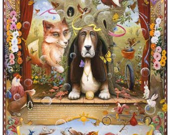 Enchantimals Fine Art Print: Fox, Dog, & Rooster Aesop's Fable