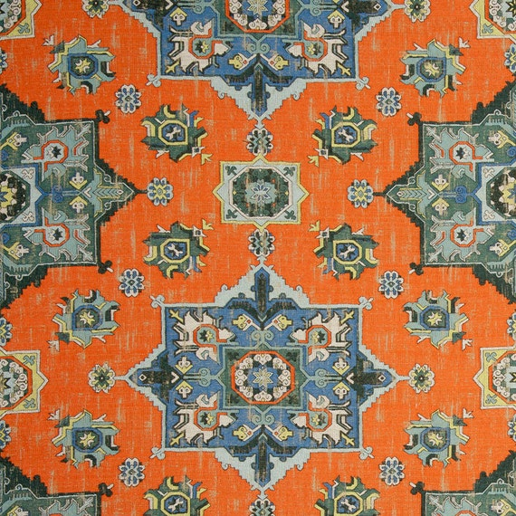 Orange Blue Woven Tapestry Upholstery Fabric Textured Blue