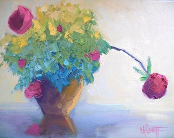 "Flower Oil Painting, Rose Bush Still Life, Textured Flower Painting, 9x12x.75"" Oil, Free Shipping in US"