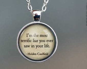 Catcher (Liar) Quote jewelry. Pendant, Necklace or Keychain Key Ring. Perfect Gift Present. Glass dome phrase words charm HomeStudio