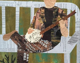 Folklife Banjo - original mixed media collage