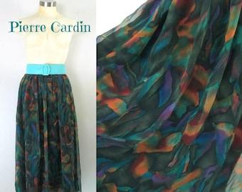1980s Chiffon Skirt Casual to Formal // Designer Vintage Pierre Cardin