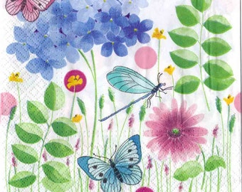 Decoupage Paper Napkins|Butterflies and Dragonfly in a Summer Meadow|Butterfly Napkins|Nature Napkins|Paper Napkins for Decoupage