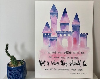 Castles in the Air Watercolor Painting