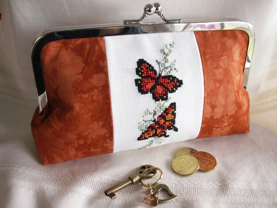 Handmade, hand embroidered, hand dyed clutch. Orange, red, gold. BUTTERFLY QUEEN by Lella Rae on Etsy