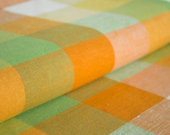 Linen-cotton fabric with checkered pattern, checkered material Linen Cotton 160g/m weight fabric for sewing