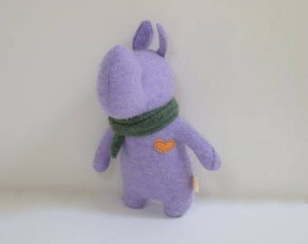 Handmade Rhino stuffed small animal OOAK purple Rhino doll eco toy upcycled cashmere sweater soft plush Rhino bubynoa Elifants&rhinos