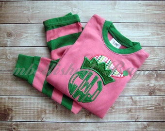 Applique Elf Hat with Monogram Christmas Pajamas, Pink & Green Stripe for Girls