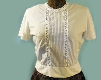 vintage white lace dimity pintucked fitted high waist schoolgirl blouse 50's 60's lolita B36 W28