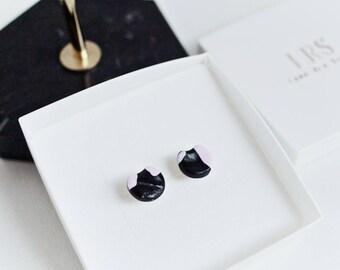 Round Shaped earrings, Gold Wire Dangle Earrings, Polymer Clay Earrings, Three Tone pink, black & white, Cute round earrings