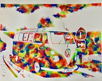 Original hand painted colorful watercolor,, VW Bus ' '