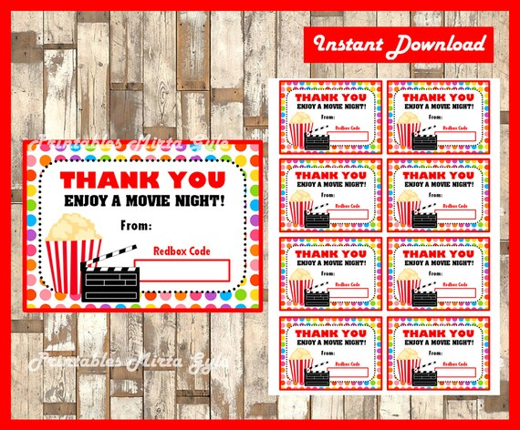 redbox gift card instant download printable teacher