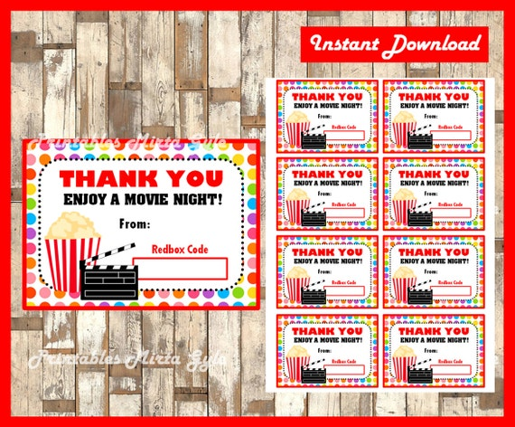 Exceptional Redbox Gift Card Instant Download Printable Teacher
