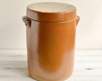Vintage French Confit Pot, Vintage French Stoneware Kitchen Canister, Kitchen storage, Kitchen container, Salt Crock, Glazed Earthenware