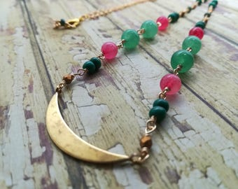 Watermelon Crescent Moon Necklace | Handmade Beaded Necklace | Lunar Necklace | Gift for Her