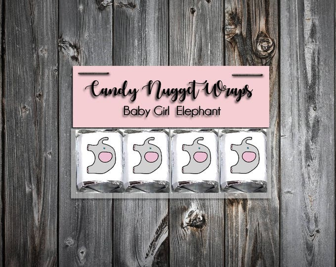 60 Pink and Grey Elephant Shower Candy Wraps Favors. Includes printing.