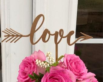 Love Cake Topper - Gold Love Cake Topper - Wedding Cake Topper- Love Wedding Cake Topper - Love Arrow Cake Topper