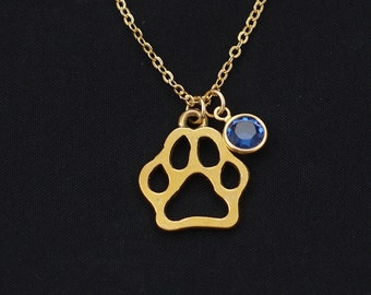dog paw necklace, gold filled, birthstone necklace, gold paw charm on gold chain, pet necklace, pet loss, dog memorial, pet lover gifts