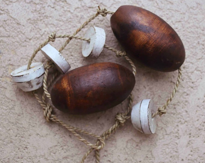 Beach Decor Brown and White Lobster Buoy Nautical Wooden by SEASTYLE
