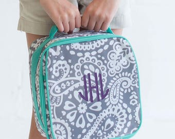Monogrammed Lunchbox Parker Paisley Lunch Bag Elementary Kids