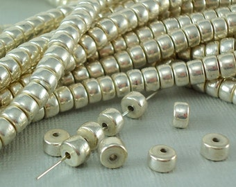 20 Silver plated Brass Beads 6mm x 4mm Polished Spacer Crow Disk Rondelle Quality Silver Disc Beads BOHO Solid Brass Natural Beads