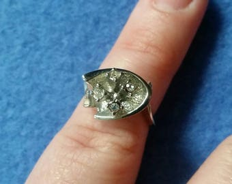 Vintage Rhinestone Ring, faux diamond ring, silver tone size 4 unsigned vintage ring