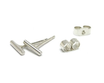 Tiny Sterling Silver Bar Stick Stud Earrings