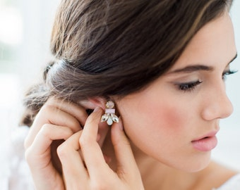 CLEO art deco ombre bridal earrings, crystal wedding studs, glam blush pastel bridesmaid gift earrings