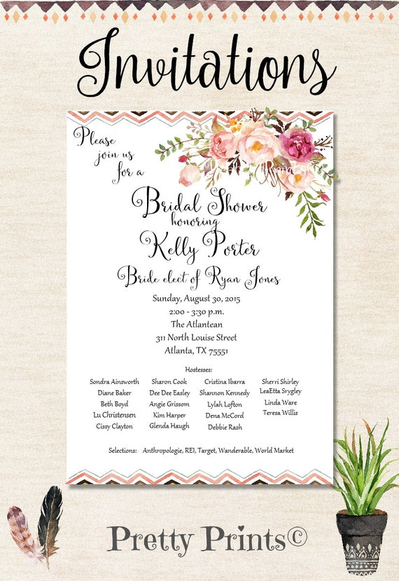 Boho Invitations, Wedding Shower Invitations, Baby Shower Invitations, Floral Invitations, Party Invitations, Birthday Invitations