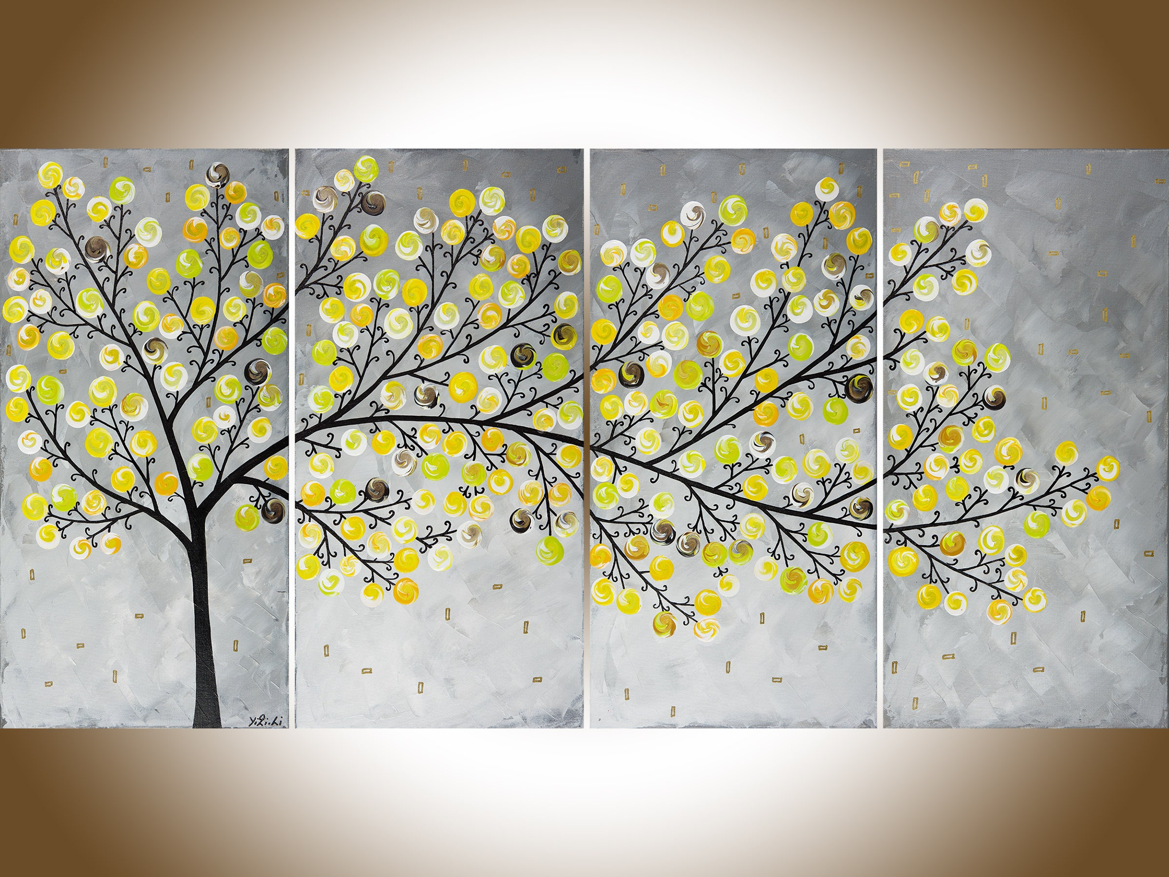 Yellow grey painting large wall art Modern art impasto canvas