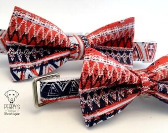 Aztec Pattern in Orange & Navy Bow Tie and Collar