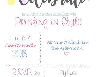CUSTOMIZABLE DIGITAL INVITATIONS or Quote *Any Size*Any Quote for Any Occasion * Home Decor